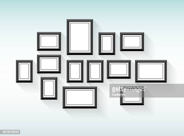 Vector black picture frame set on wall background
