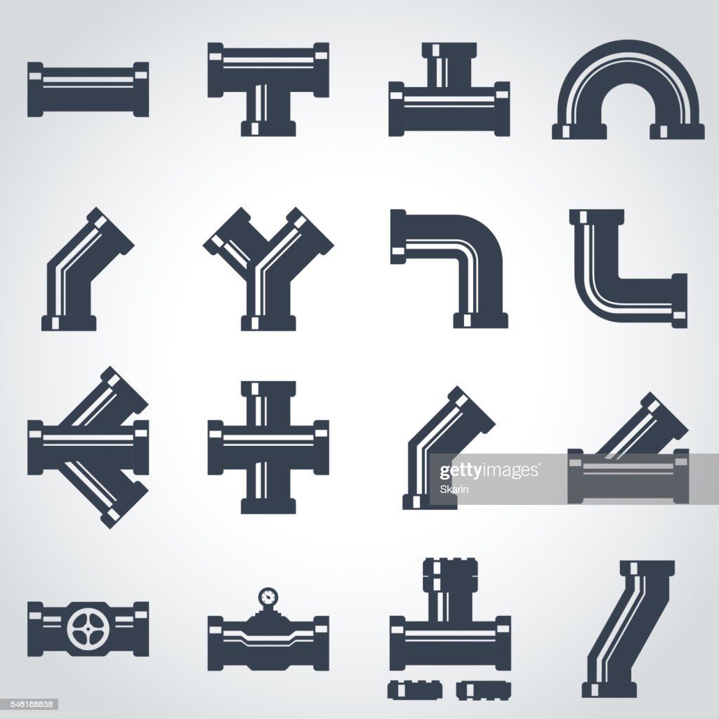 Vector black pipe fittings icon set