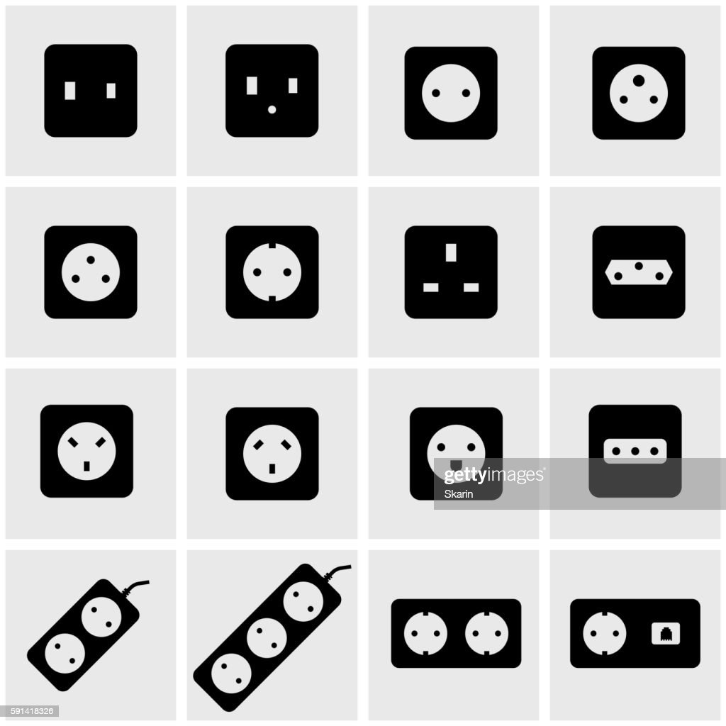 Vector black power socket icon set