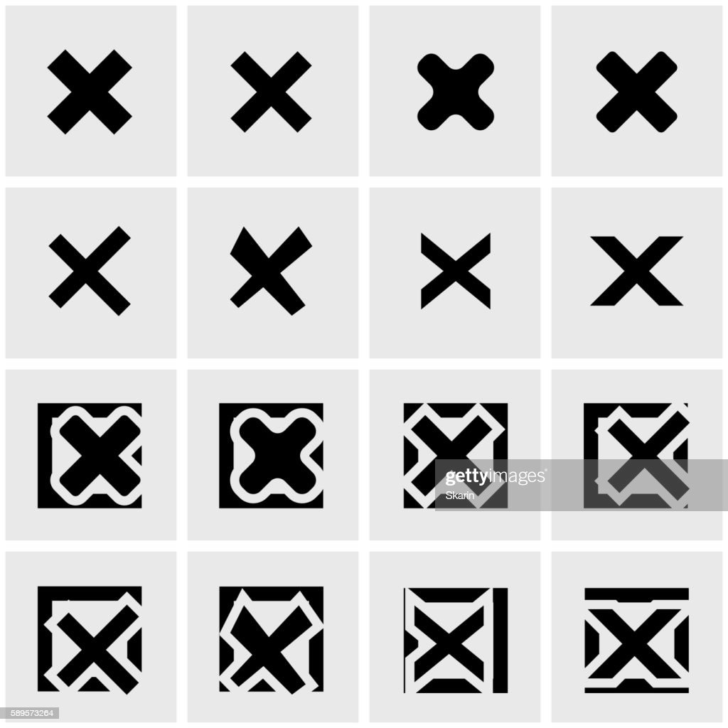 Vector black rejected icon set