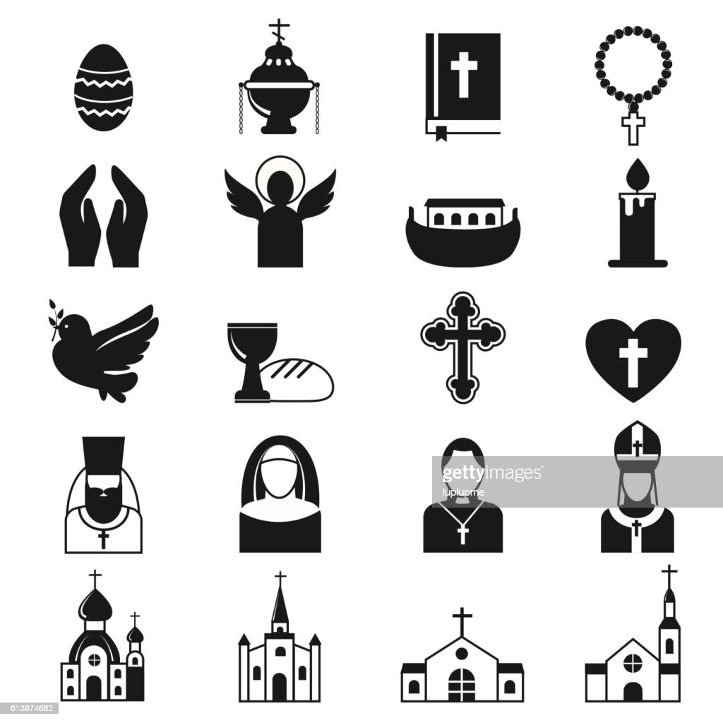 Vector black religion icon set.
