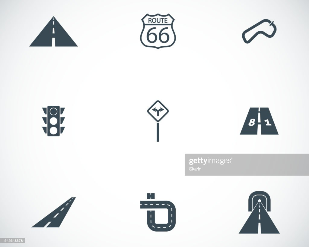 Vector black road icons set