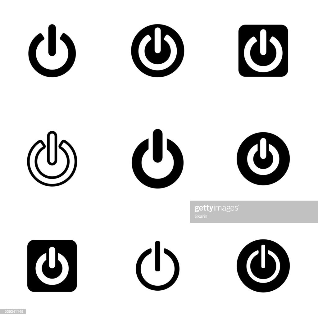 Vector black shut down icon set