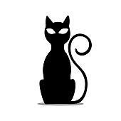 Vector Black Sitting Cat