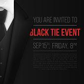 Vector Black Suit. Black Tie Event Invitation Template. Realistic Vector 3D Mens Suit with Neck Tie