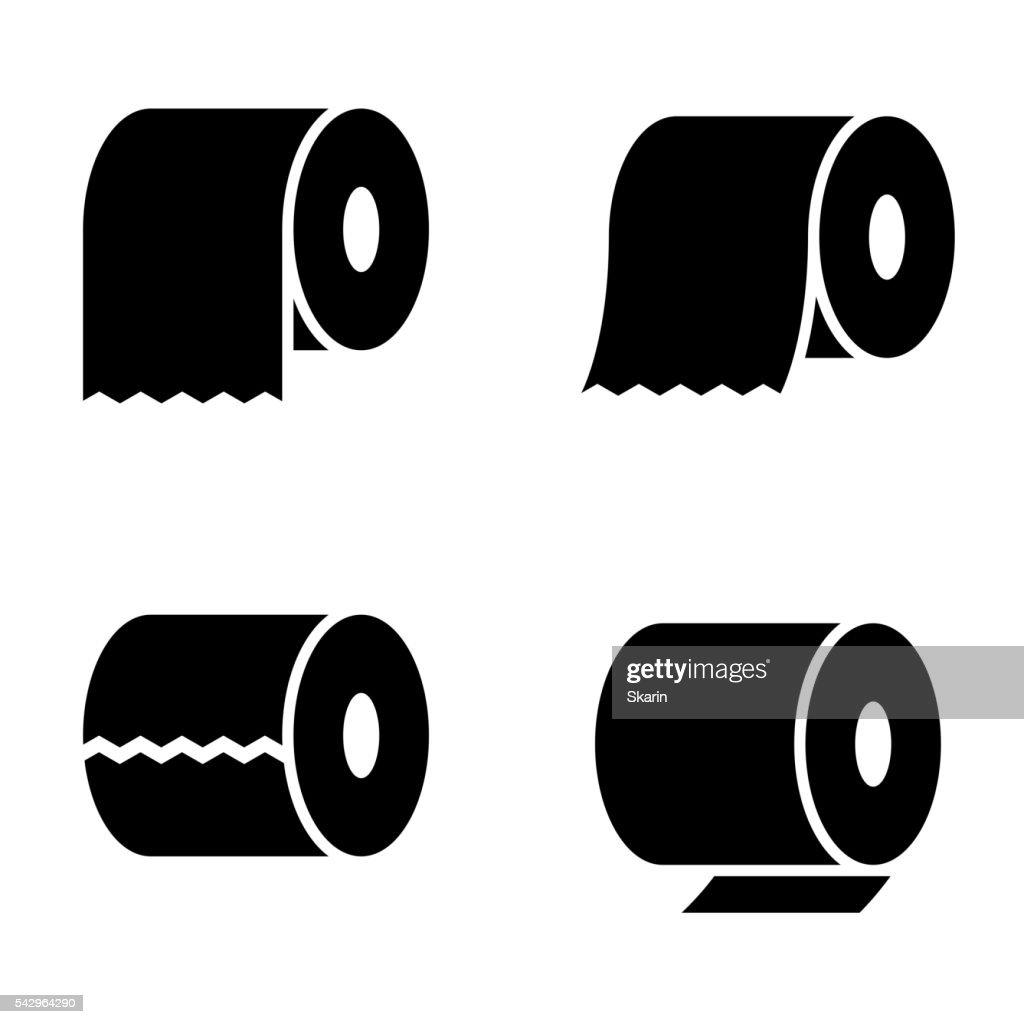 Vector black toilet paper icons set