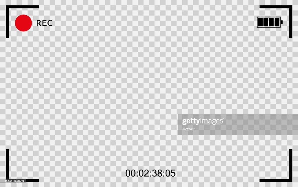 Vector Black transparent camera rec. Screen photography frame. Video quality