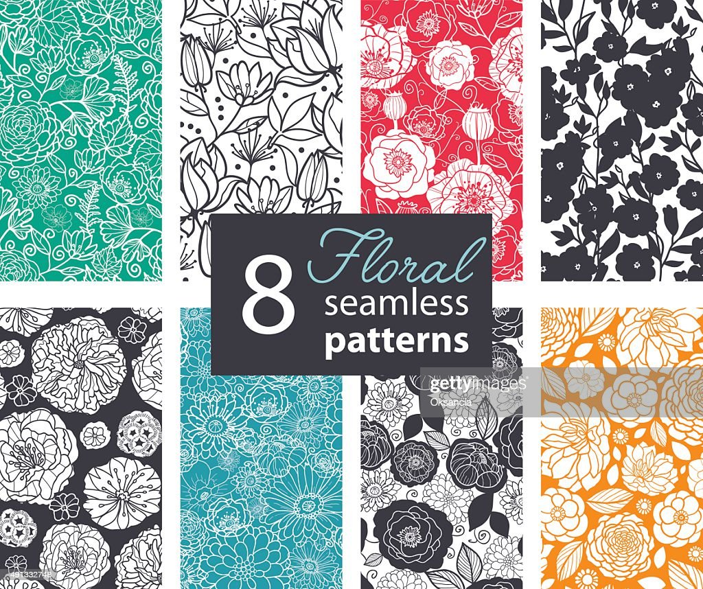 Vector Black White Color Flowers 8 Set Seamless Pattern. Poppy