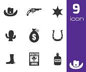 Vector black wild west icons set