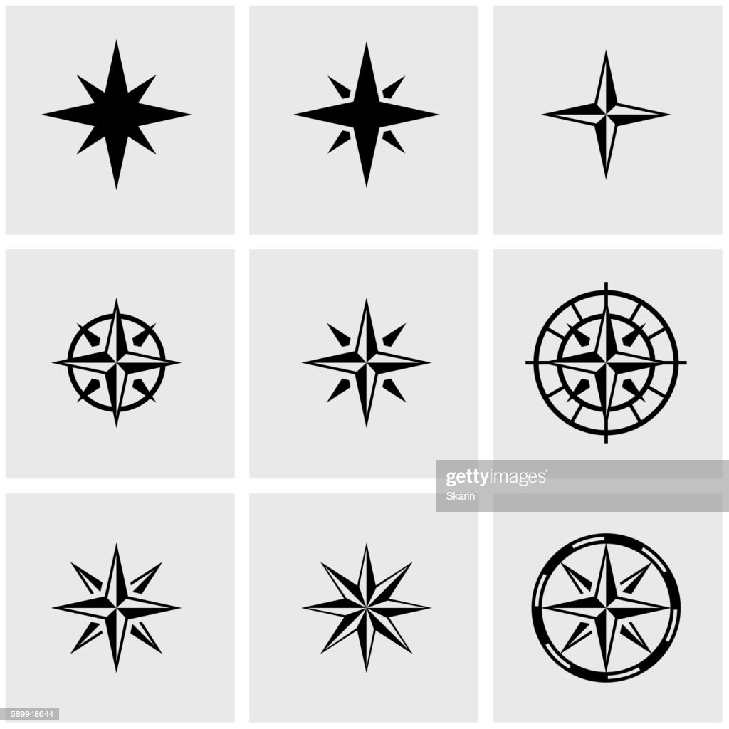 Vector black  wind rose icon set