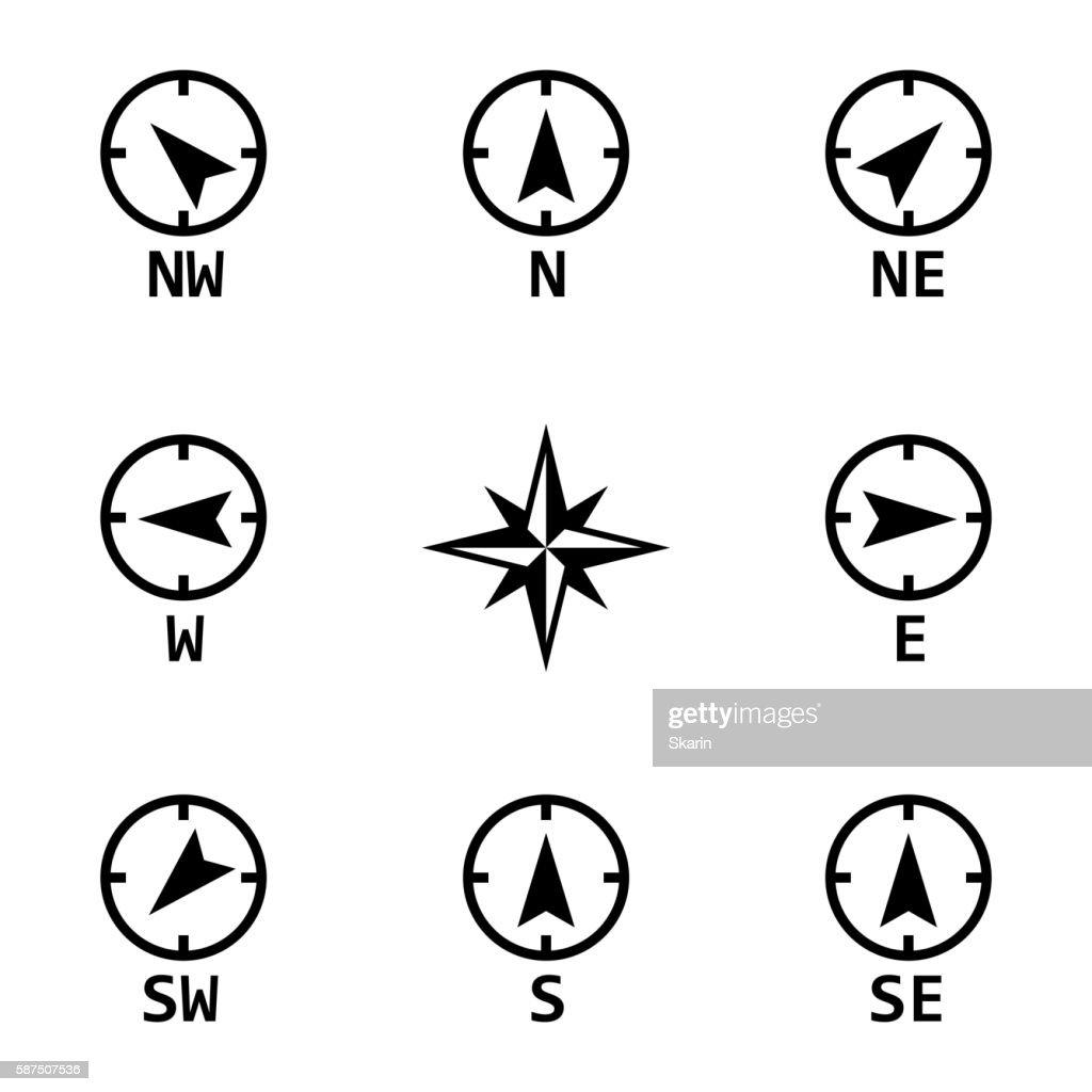 Vector black wind rose icons set