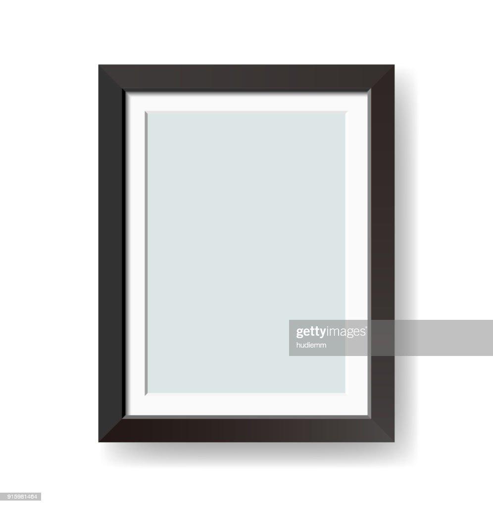白い背景に分離されたベクトル空白の黒い図枠 : ストックイラストレーション