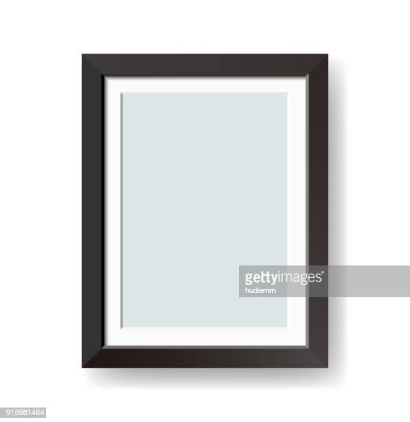 vector blank black picture frame isolated on white background - vertical stock illustrations