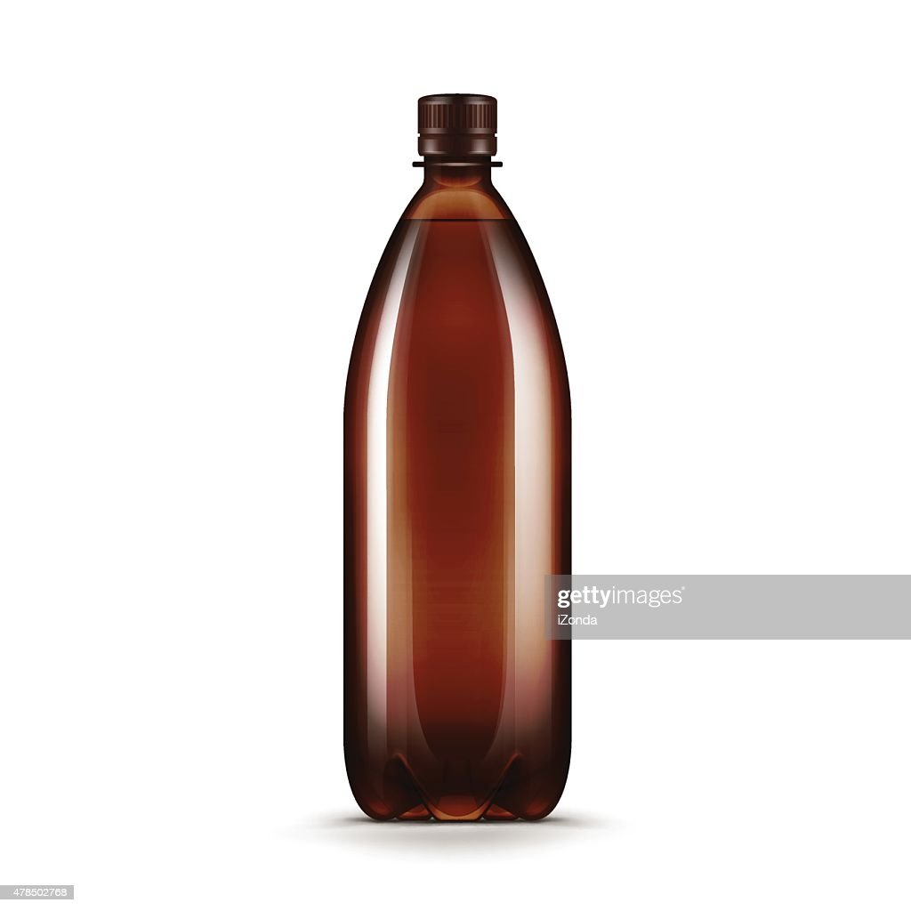 Vector Blank Brown Plastic Water Bottle Isolated on White Background