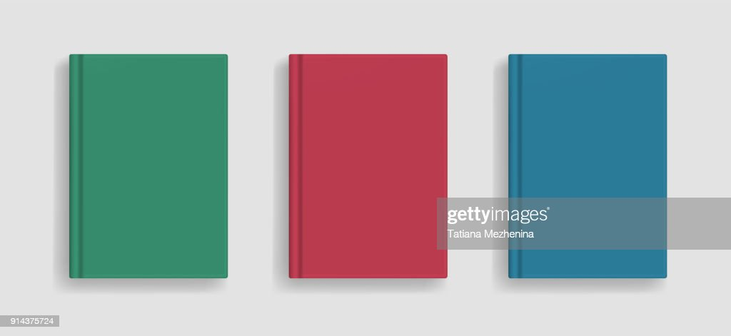 Vector blank colored realistic book cover mockup