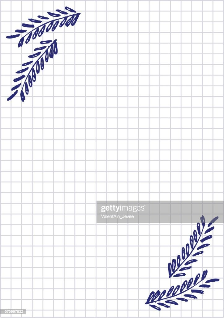 Vector blank for letter or greeting card checkered paper white vector blank for letter or greeting card checkered paper white squared form with hand m4hsunfo