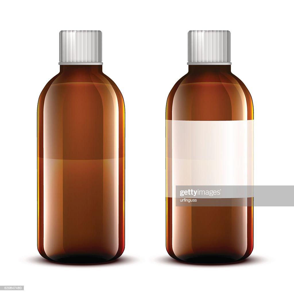 Vector Blank Glass Medical Bottle.
