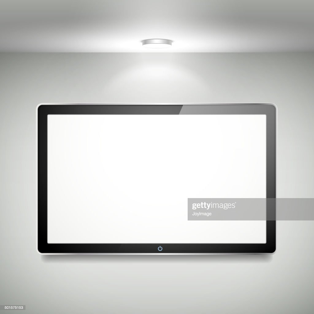vector blank LCD TV hanging on the wall