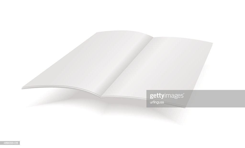 Vector blank magazine spread on white background