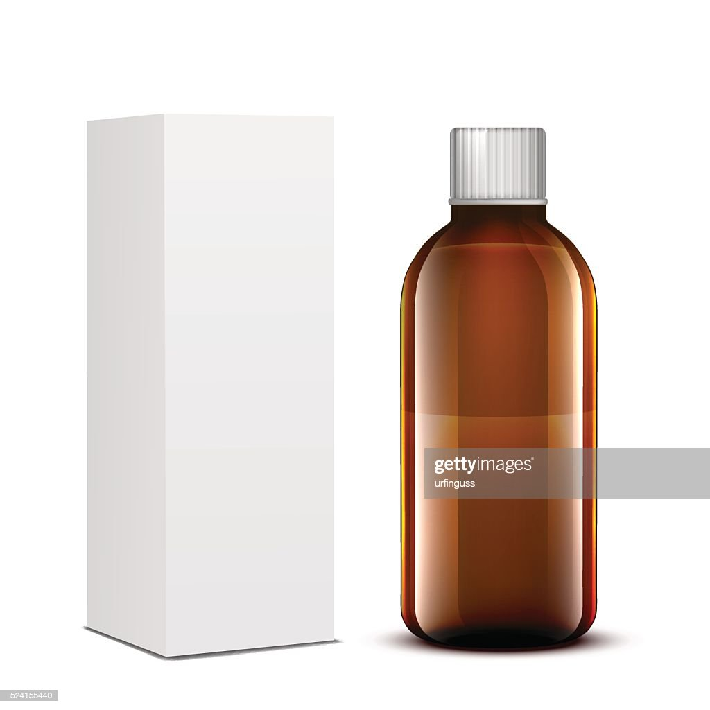 Vector Blank Medicine Medical Glass Bottle Package Box