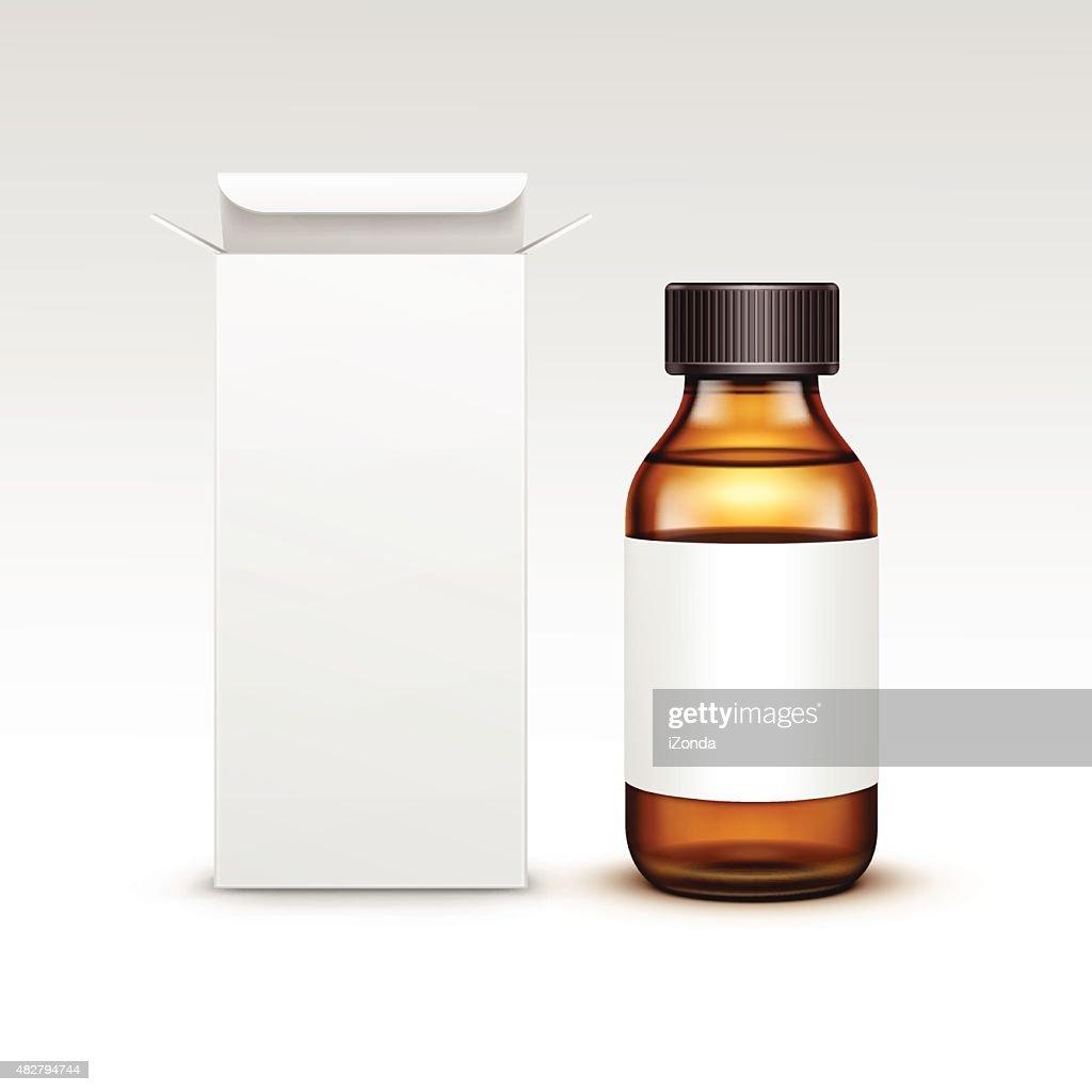 Vector Blank Medicine Medical Glass Bottle With Liquid Fluid