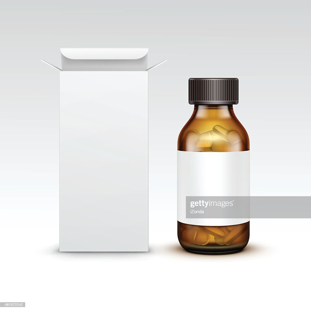 Vector Blank Medicine Medical Glass Bottle With Tablets Pills