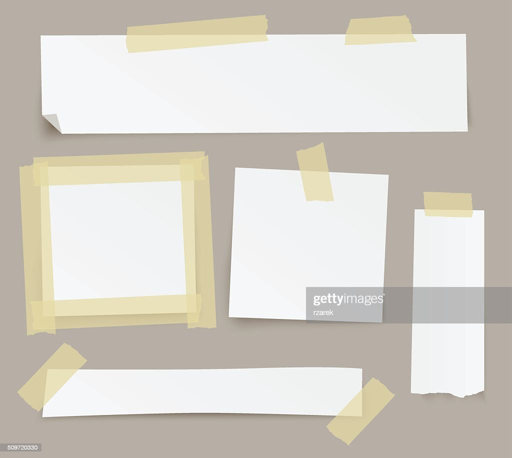 Vector blank paper backgrounds fixed with sticky tape.
