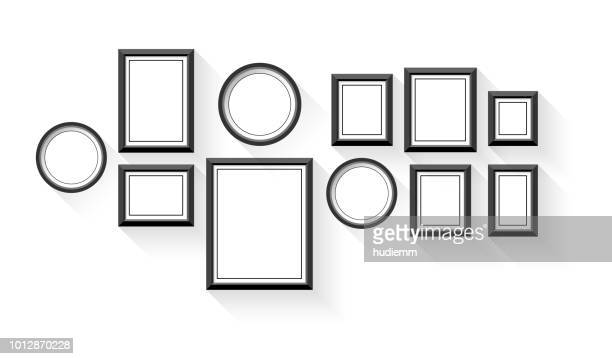 vector blank picture frame set isolated on white background - picture frame stock illustrations