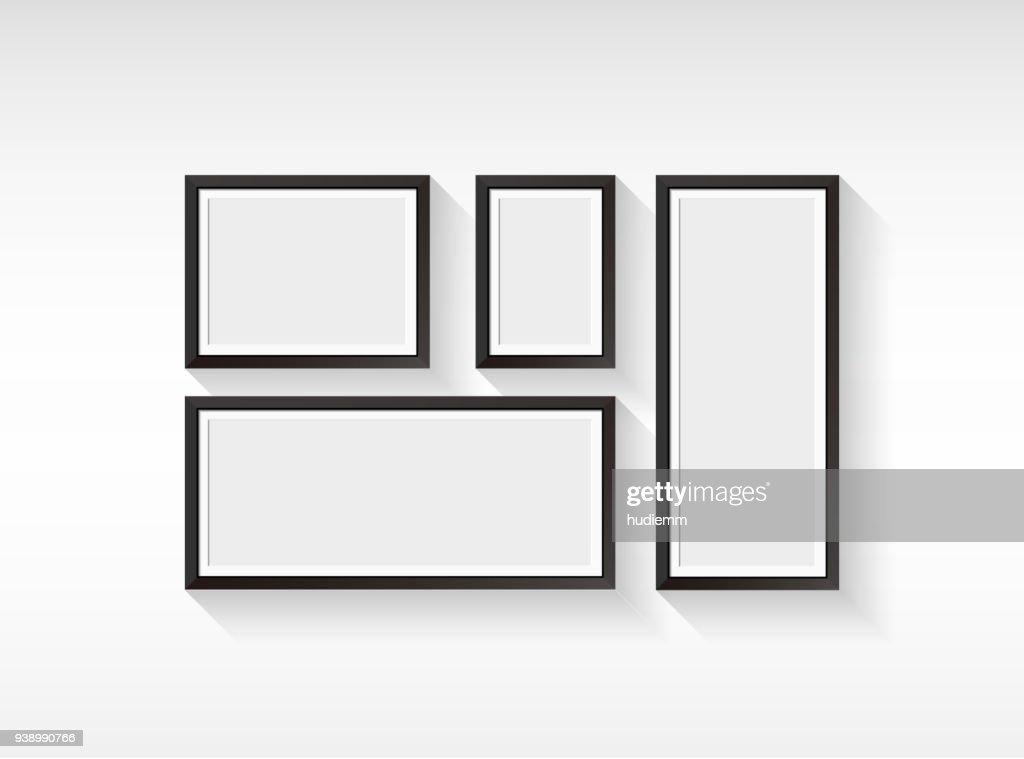Porta-retrato em branco vector conjunto isolado no fundo branco : Ilustração