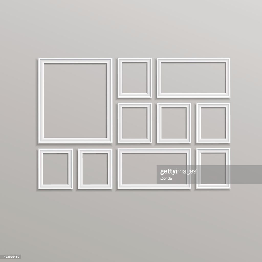 Vector Blank Picture Frame Template Composition Set Isolated