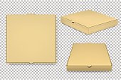 Vector blank pizza box design template set isolated. EPS10