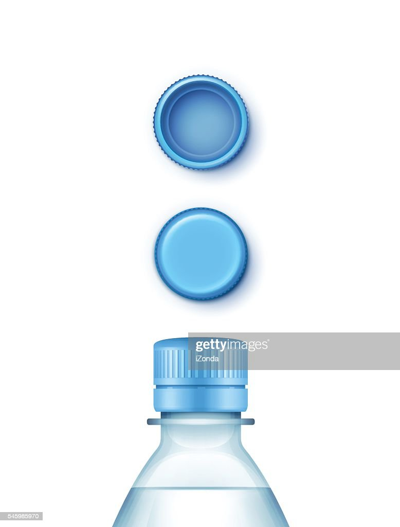 Vector Blank Plastic Blue Water Bottle with Set of Caps