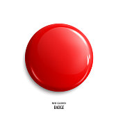 Vector blank red glossy badge or web button. Vector.