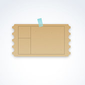 Vector blank ticket template with cardboard texture and perforated edges
