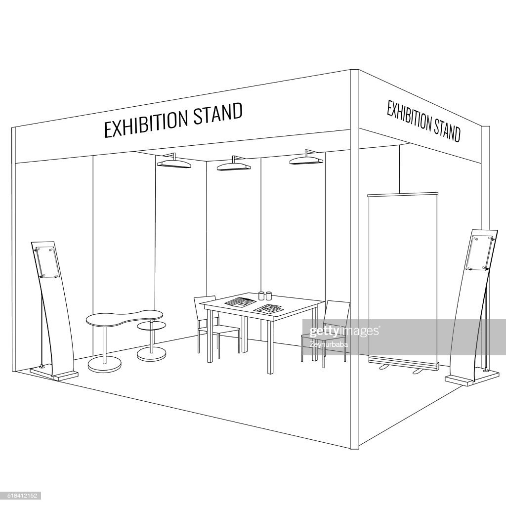Vector Blank trade exhibition booth stand. Trendy outline style