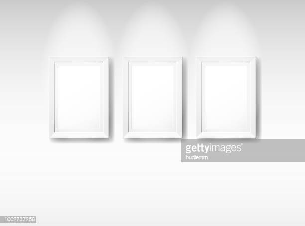 Vector blank vintage picture frame isolated on white background