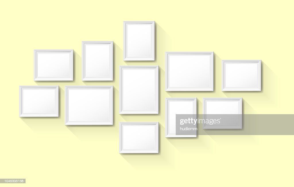 Vector Blank Vintage Picture Frames On Wall Background Vector Art ...