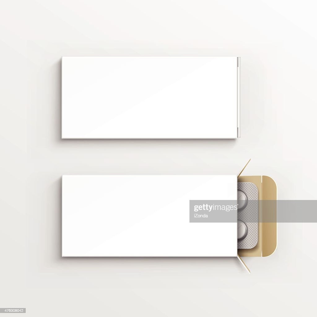 Vector Blank White Package Box for Blister of Pills Isolated