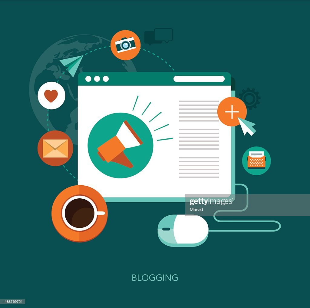 vector blogging concept illustration