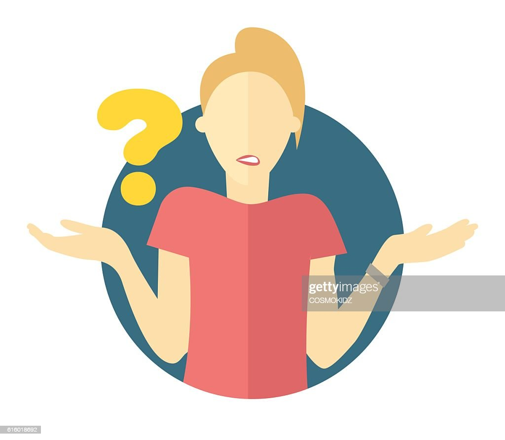 Vector blonde woman with a question mark