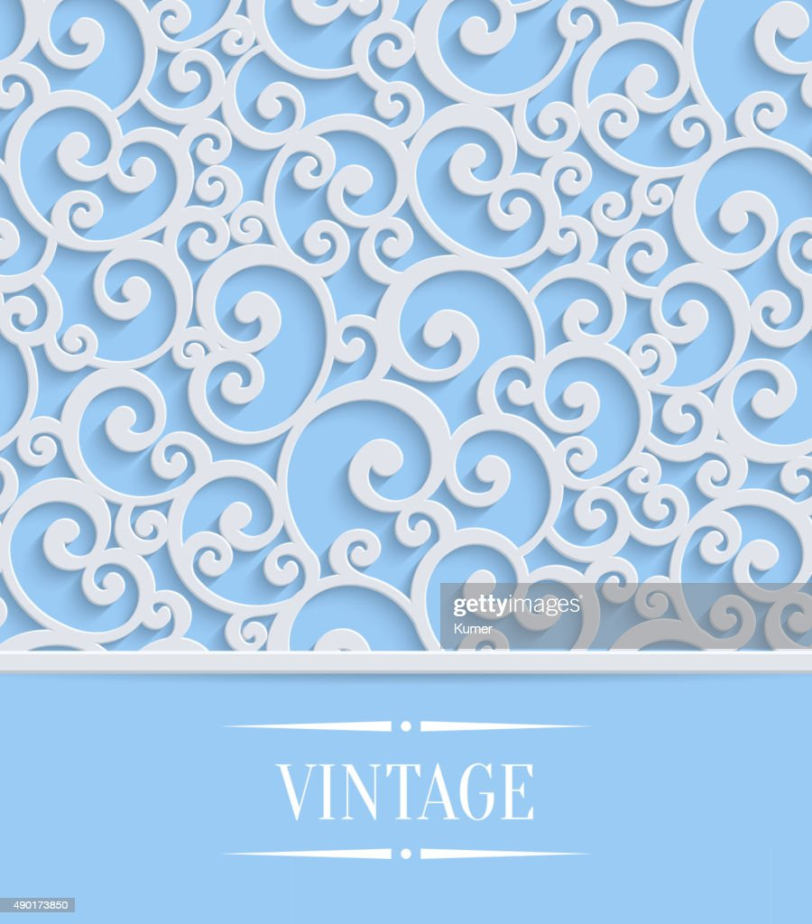 Vector Blue 3d Vintage Invitation Card with Floral Swirl Pattern