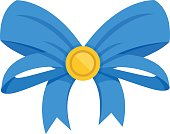 Vector blue bow. Gift bow and ribbons. Vector illustration