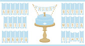 Vector blue cake on wooden table. Set of printable letters cupcake bunting.