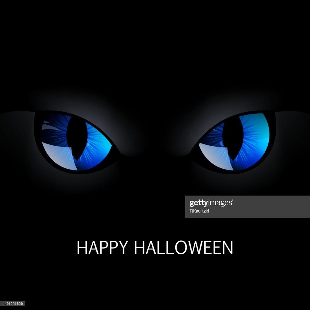 Vector Blue Cat Eyes in the Dark Night