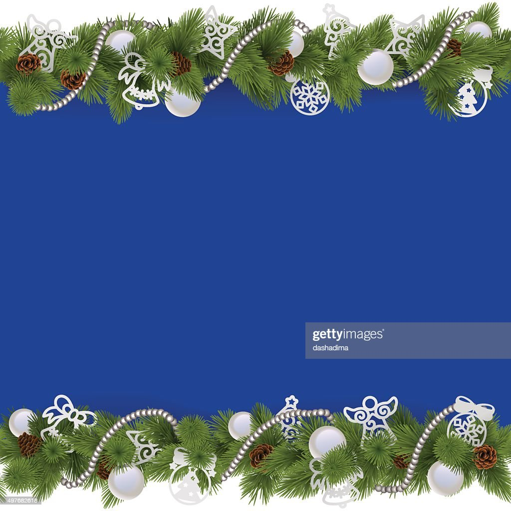 Vector Blue Christmas Border with Beads
