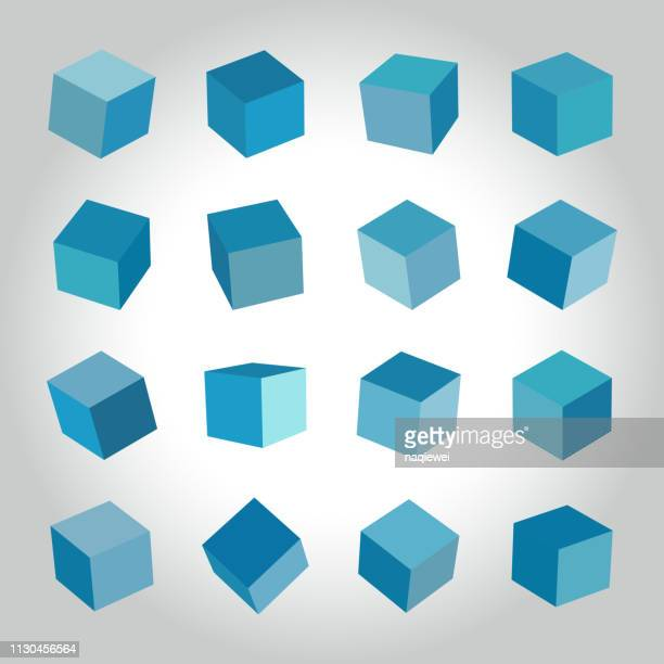 vector blue cube box collection - cube stock illustrations