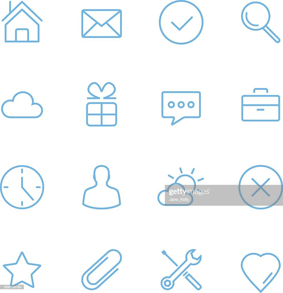Vector blue flat line icons set. Minimal style design