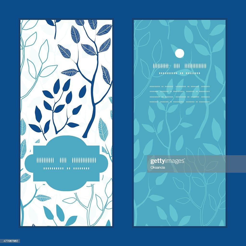 Vector blue forest vertical frame pattern invitation greeting cards set