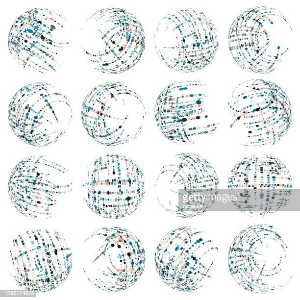 vector blue half tone dots pattern sphere icon collection for design - animated zebra stock illustrations