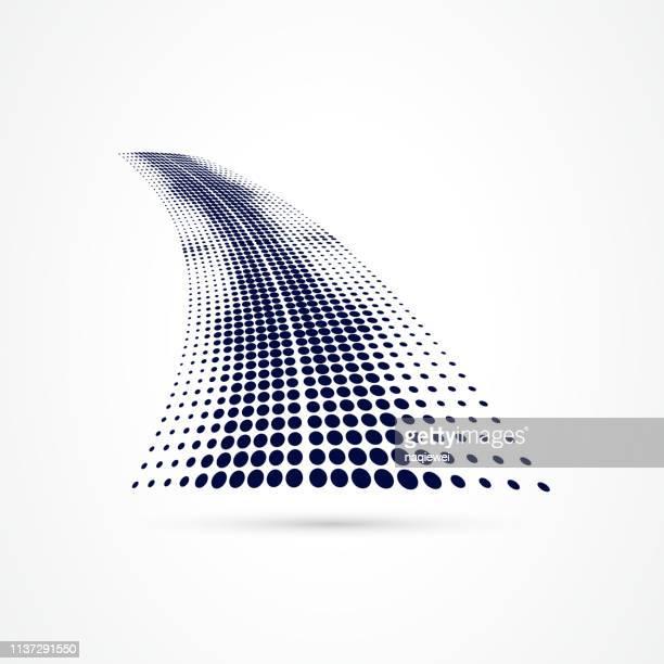 vector blue half tone dots pattern - single lane road stock illustrations